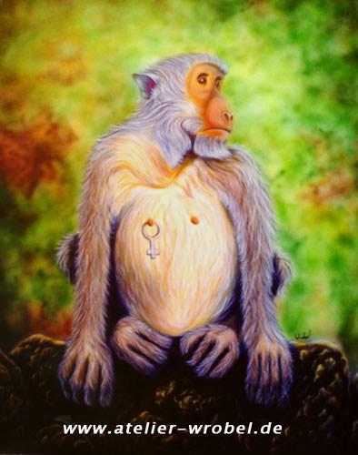 Tiere, Malerei, Affe, Natur, Acrylmalerei, Airbrush