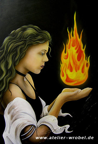 Fantasie, Airbrush, Firur, Mystik, Frau, Feuer