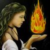 Frau, Mystik, Malerei, Feuer