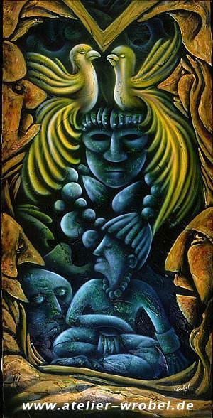 Kopf, Malerei, Acrylmalerei, Inka,