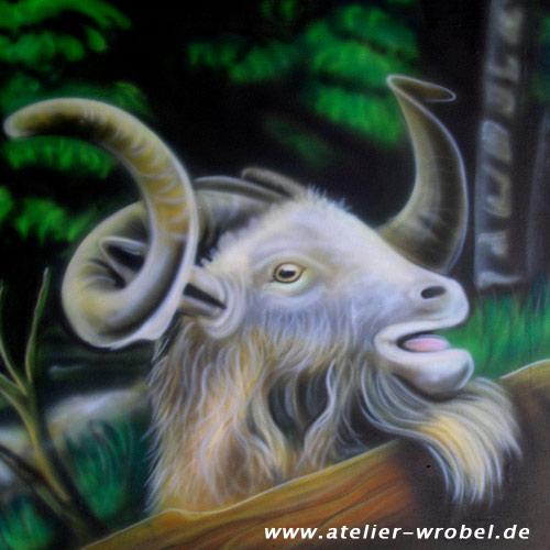 Tiere, Airbrush, Landleben, Ziegenbock, Malerei