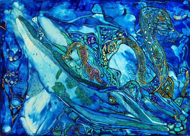 Wasser, Wal, Schwan, Fische, Malerei, Surreal