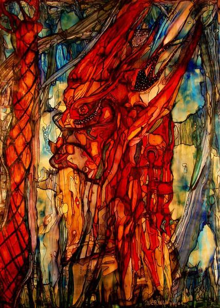 Hitze, Waldbrand, Feuerteufel, Zerstörung, Malerei, Surreal