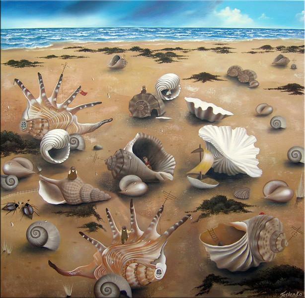 Muschel, Meer, Strand, Ölmalerei, Malerei