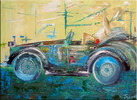 Oldtimer, Auto, Ölmalerei, Malerei