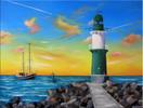 Warnemünde, Meer, Leuchtturm, Malerei