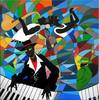 Acrylmalerei, Jazz, Quartett, Malerei