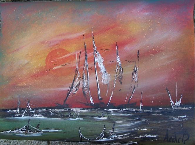 Sonnenuntergang, Himmel, Strand, Meer, Boot, Landschaft