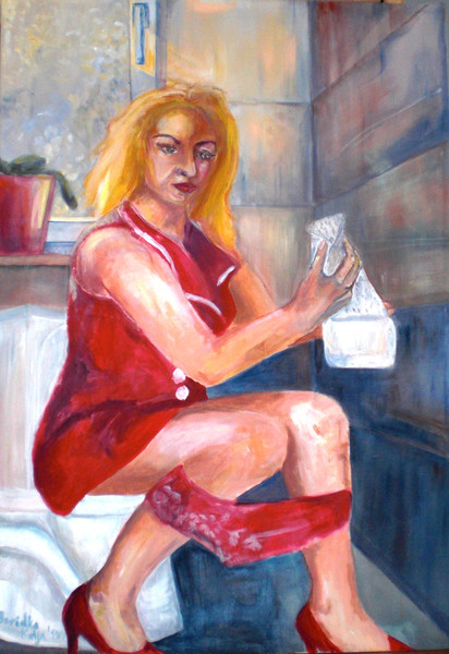 Bad, Sitzen, Frau, Klo, Malerei, Menschen