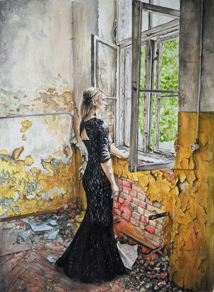 Aquarellmalerei, Menschen, Lost places, Realismus, Körper, Malerei