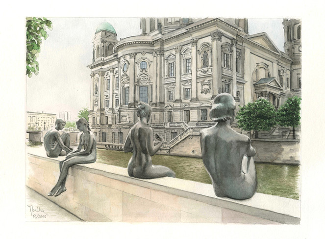 Berlin, Dom, Spree, Statue, Bronze, Aquarell
