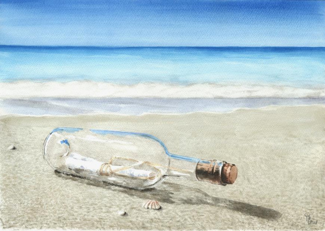 Flasche, Glas, Meer, Strand, Aquarell