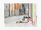 Gasse, Kinder, Straße, Aquarell