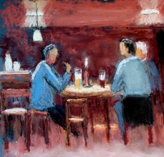 Lampe, Kerzen, Menschen, Bier, Tisch, Malerei