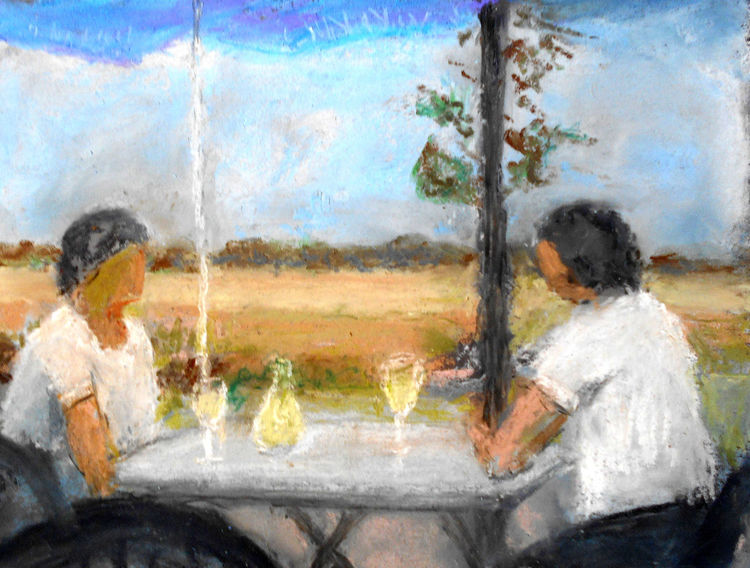 Frau, Wein, Landschaft, Malerei,
