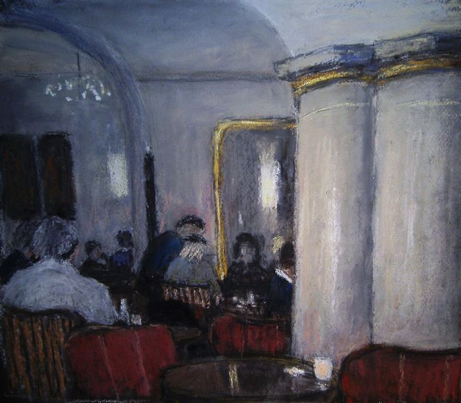 Cafe, Malerei, Figural, Kreuz