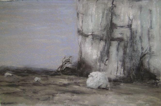 Stein, Tod, Felsen, Pastellmalerei, Frühling, Jura
