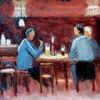 Menschen, Bier, Tisch, Lampe