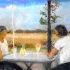 Frau, Wein, Landschaft, Malerei