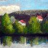 Häuser, Baum, Fluss, Spiegelung