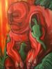 Acrylmalerei, Grün, Surreal, Rot