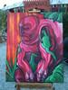 Echse, Wald, Acrylmalerei, Grün