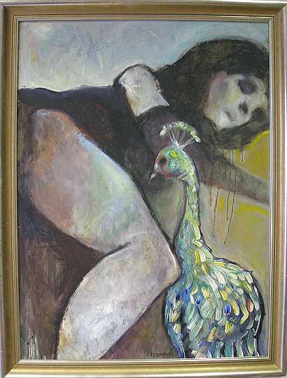 Frau, Pfau, Malerei, Menschen