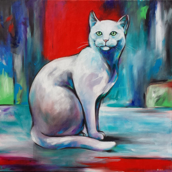 Katze, Tiere, Weisse katze, Malerei