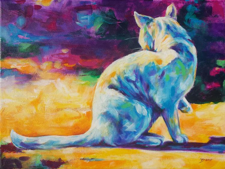 Katze, Bunt, Malerei, Tiere
