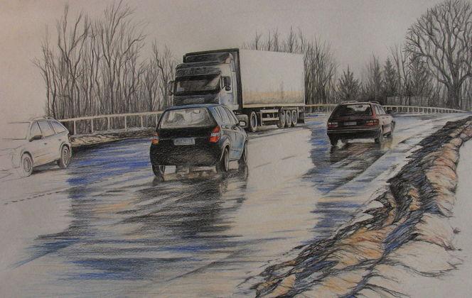 Auto, Straße, Schnee, Lkw, Malerei, Technik verkehr
