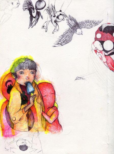 Mina, Komma, 3 tags, Zeichnungen