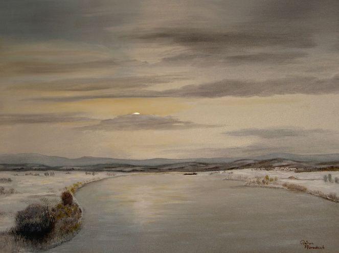 Realismus, Sonnenuntergang, Gemälde, Grau, Winter, Ausdruck