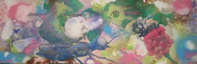 Sommer, Käfer, Blumen, Blätter, Malerei, Abstrakt