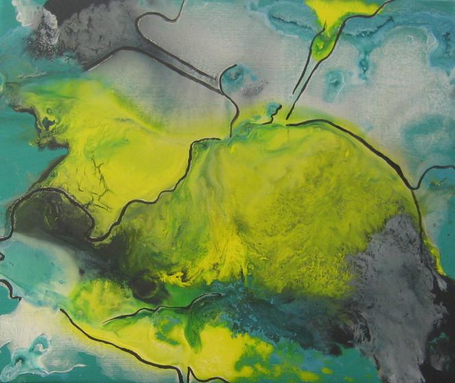 Nebel, Weg, Fantasie, Landschaft, Malerei, Abstrakt