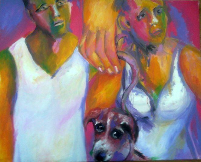 Menschen, Hund, Hand, Malerei