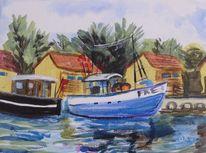 Fischkutter, Wasser, Hafen, Malerei