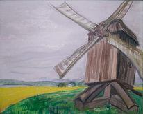 Grün, Gelb, Mühle, Feld