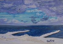 Ostsee, Winter, Buhne, Malerei