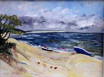 Schiff, Boot, Ostsee strand, Blau baum wolken