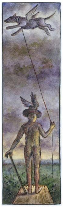 Figur, Alter mann, Hund, Aquarellmalerei