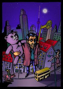 Berlin, Tiere, Haltestelle, Teddybär