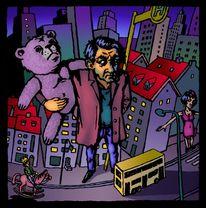 Tiere, Berlin, Teddybär, Haltestelle