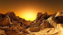 Wüste, Sonnenuntergang, Orange, Ocker