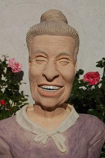 Lachen, Oma, Büste, Keramikfigur