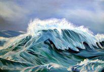 Marinemalerei, Meerblick, Ölmalerei, Welle