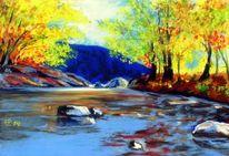Pastellmalerei, Landschaftsmalerei, Herbstfarben, Herbstlicht