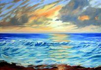 Meeresmotiv, Sonnenuntergang, Landschaftsmalerei, Marinemalerei