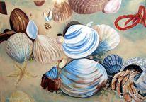 Strandgut, Ölmalerei, Küstenimpressionen, Marinemalerei