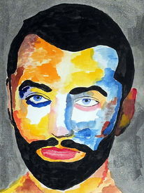 Sam smith, Portrait, Mischtechnik, Aquarellmalerei