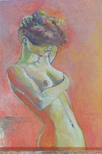Akt, Portrait, Malerei, Rot